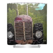 Tractor In The Garden Shower Curtain