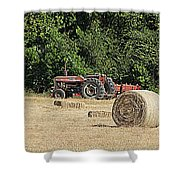 Tractor In The Hay Field Shower Curtain