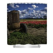 Tractor N' Tulips Shower Curtain