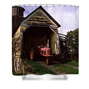 Tractor Parked Inside Of A Round Barn Shower Curtain