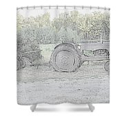 Tractor   Pencil Drawing Shower Curtain