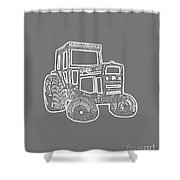 Tractor Transparent Shower Curtain