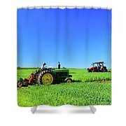 Tractors Working  Shower Curtain