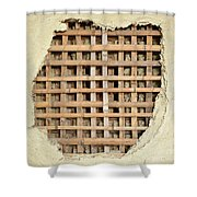 Traditional Bamboo Mud Wall Construction Shower Curtain