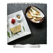 Traditional French Foie Gras Pate And Toast Starter Snack Platte Shower Curtain
