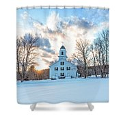 Traditional New England White Church Etna New Hampshire Shower Curtain