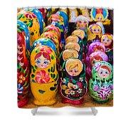 Traditional Russian Matrushka Nesting Puzzle Dolls Shower Curtain