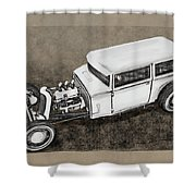 Traditional Styled Hot Rod Sedan Shower Curtain
