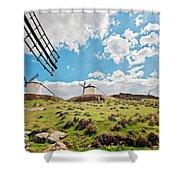 Traditional White Windmills  Shower Curtain