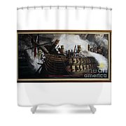 Trafalgar - Destruction Of The Bucentaure 72 X 36 In 182 X 91 Cm Shower Curtain