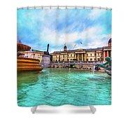 Trafalgar Square Fountain London 5 Art Shower Curtain