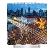 Traffic Light Trails In Singapore Chinatown Shower Curtain