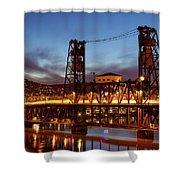 Traffic Light Trails On Steel Bridge Shower Curtain