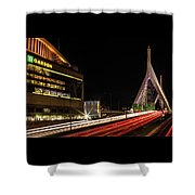 Traffic Racing Over Zakim Bridge Shower Curtain