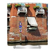 Traffic Signs On The Canal In Venice Italy Shower Curtain