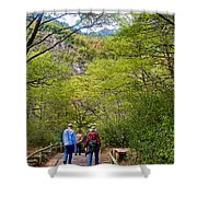 Trail To Waterfall In Vicente Perez Rosales National Park Near Puerto Montt-chile Shower Curtain