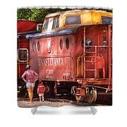 Train - Car - Pennsylvania Northern Region Caboose 477823 Shower Curtain