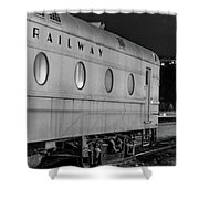 Train Car, Black And White Shower Curtain