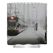 Train In Helsinki Shower Curtain