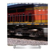 Train In Motion Shower Curtain