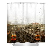 Train In The Rain Shower Curtain