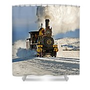 Train In Winter Shower Curtain