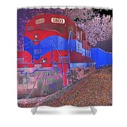 Train On Railroad Tracks - Abstract In Blue And Red Shower Curtain