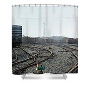 Train On Tracks Shower Curtain