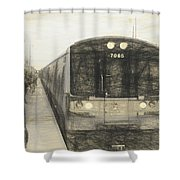 Train Sketch Shower Curtain