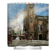 Train Station - Look Out For The Train 1910 Shower Curtain