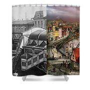 Train Station - Wuppertal Suspension Railway 1913 - Side By Side Shower Curtain