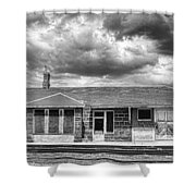 Train Stop Bw Shower Curtain