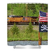 Train The Flags Shower Curtain
