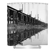 Train Track Reflections Shower Curtain
