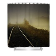 Train Tracks Into The Morning Fog With Lake Shower Curtain