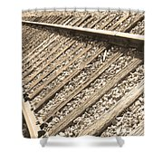 Train Tracks Sepia Triangular  Shower Curtain