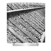Train Tracks Triangular In Black And White Shower Curtain