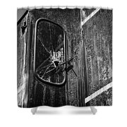 Train Vandalized Black And White Shower Curtain