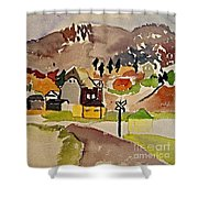 Train Whistle Stop Village  Shower Curtain
