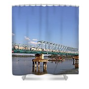 Train With Tank Wagon On Bridge Shower Curtain