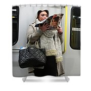 Train Woman Magazine Shower Curtain