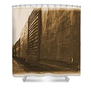 Trains 12 Albumen Border Shower Curtain