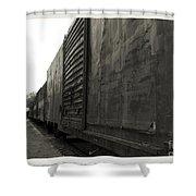 Trains 12 Platinum Border Shower Curtain