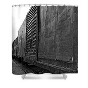 Trains 12 Blkwht Shower Curtain