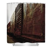 Trains 12 Retro Shower Curtain