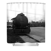 Trains 3 Blkwht Shower Curtain