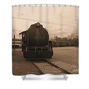 Trains 3 Sepia Shower Curtain