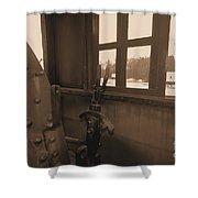 Trains 5 Sepia Shower Curtain