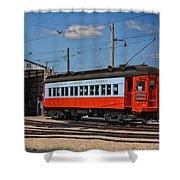 Trains Chicago Aurora Elgin Trolley Car 409 Shower Curtain