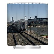 Trains Passing The Home Of The Chicago White Sox Shower Curtain